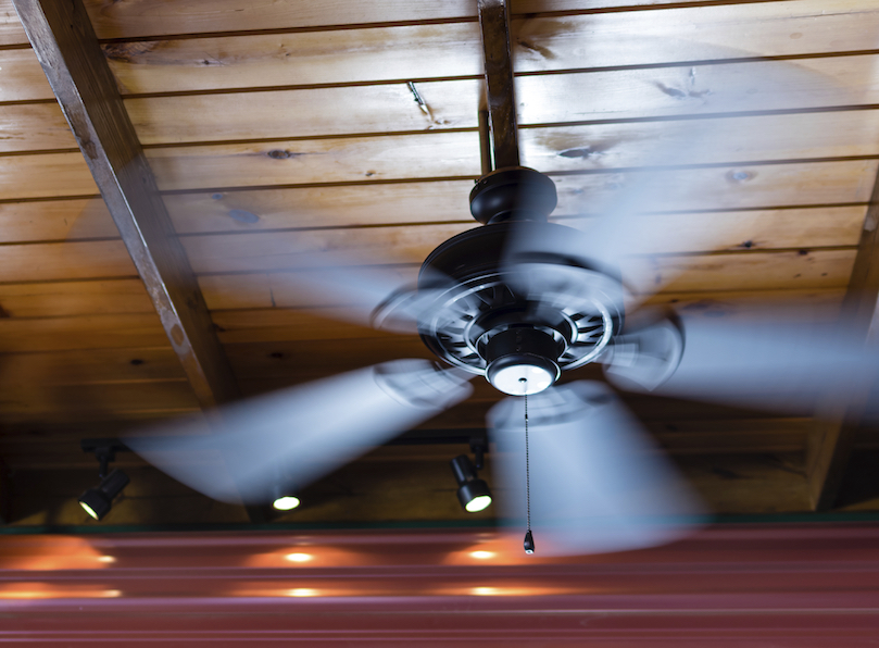 ceiling fan spinning